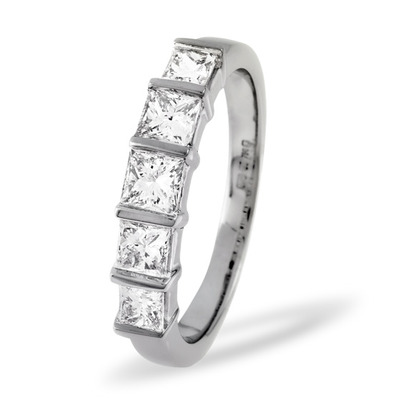 9K White Gold Diamond Tension Set 5 Stone Ring