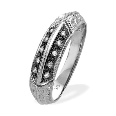 0.11ct Diamond and Black Diamond 9K White Gold Ring - RTC-E3189