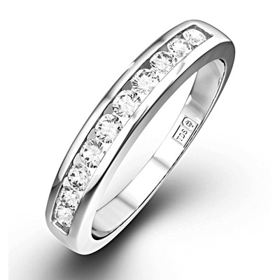 Rae Half Eternity Ring Channel Set 0.25CT Diamond 9K White Gold
