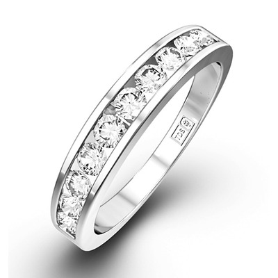 Rae Half Eternity Ring 0.75CT Diamond 9K White Gold