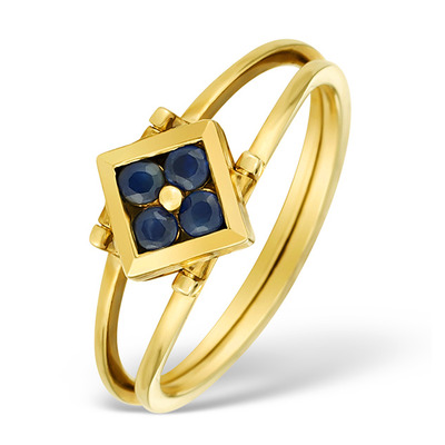 9K Gold Diamond and Sapphire Design Reversible Ring - E4851