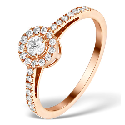Halo Engagement Ring Martini Diamond 0.45CT Ring in 9K Rose Gold E5974