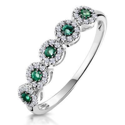Emerald and Halo Diamond Stellato Eternity Ring in 9K White Gold