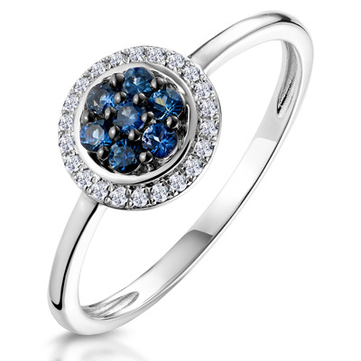 0.20ct Sapphire and Diamond Stellato Ring in 9K White Gold