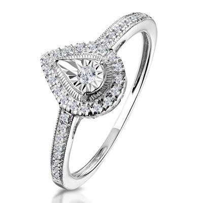 Masami Pear Shaped Pave Diamond Engagement Ring 0.15ct 9K White Gold