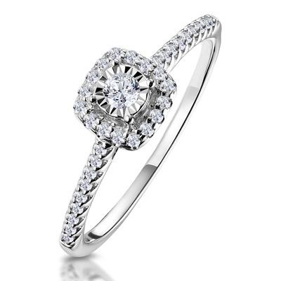 Masami Diamond Halo Engagement Ring 0.25ct Pave Set in 9K White Gold