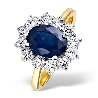 Sapphire 2.30ct And Diamond 1.00ct 18K Gold Ring
