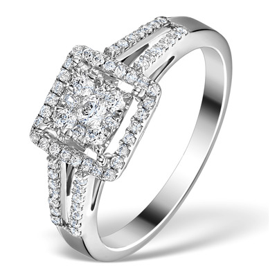 Halo Engagement Ring Galileo 0.50ct of Diamonds in 18K Gold - FT75