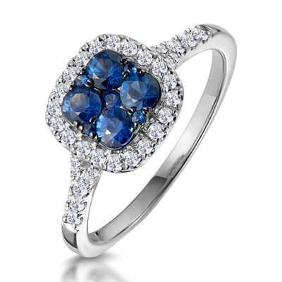 Sapphire and Diamond Halo Square Ring 18KW Gold Asteria Collection