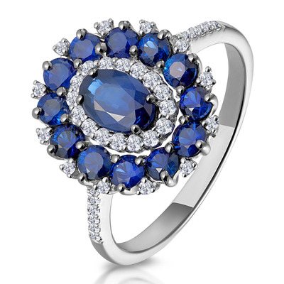 1.55ct Sapphire Asteria Diamond Halo Ring in 18K White Gold