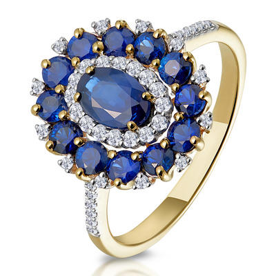 1.55ct Sapphire Asteria Collection Diamond Halo Ring in 18K Gold