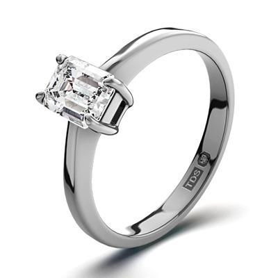 Certified Emerald Cut Platinum Diamond Engagement Ring 0.50CT-F-G/VS