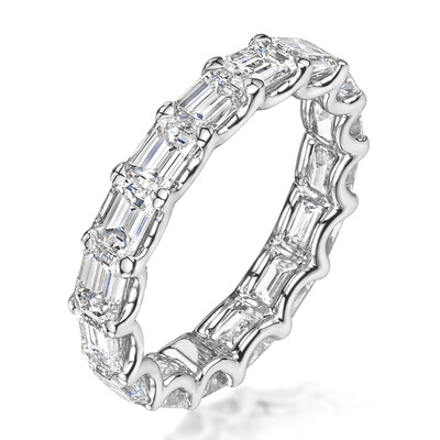 Sofia Diamond Eternity Ring Emerald Cut 2.42ct VVs Platinum Size J-N