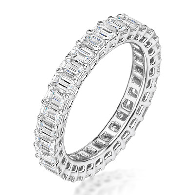 Francesca Diamond Eternity Ring Emerald Cut 3.75ct VVs Platinum J-N