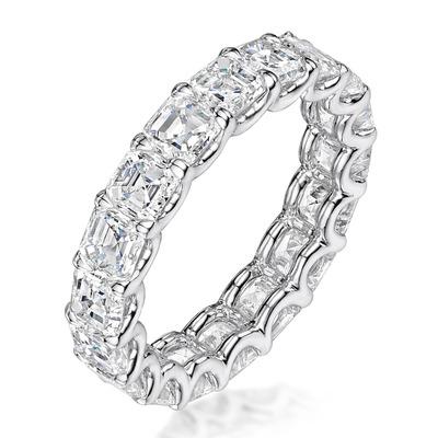 Elisa Diamond Eternity Ring Asscher Cut 7ct VVs Platinum Size O-W