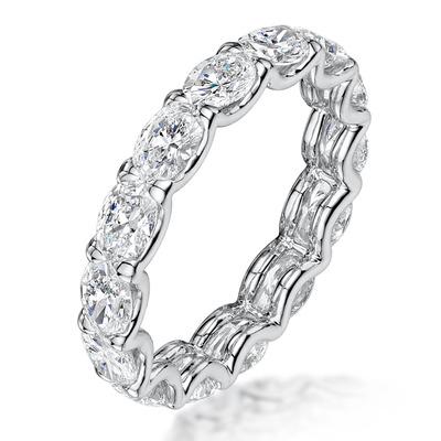 Isla Diamond Eternity Ring Oval Cut 2.64ct VVs Platinum Size O-W
