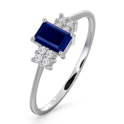 Sapphire 6 x 4mm And Diamond 18K White Gold Ring  FET37-UY