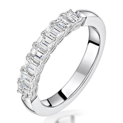 Norah Diamond Eternity Ring Emerald Cut 1.5ct VVs Platinum Size J-N