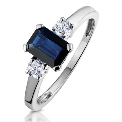 Sapphire 7 x 5mm And Diamond 18K White Gold Ring