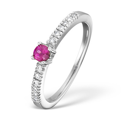 0.16CT Pink Sapphire And 0.10CT Diamond Ring 9K White Gold