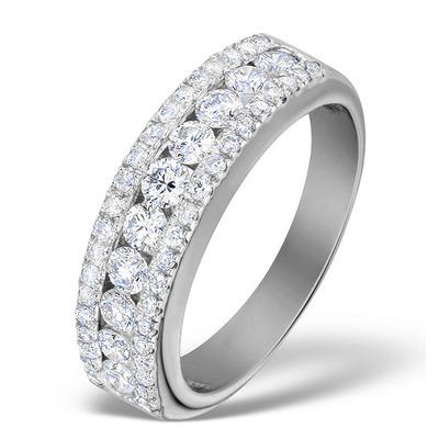 Diamond 1.00ct And Platinum Half Eternity Ring - S3478