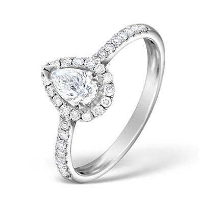 Halo Engagement Ring Ella 0.81ct Pear Shape Diamond 18K White Gold