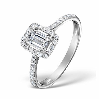 Halo Engagement Ring Ella 0.80ct VS Emerald Cut Diamonds 18KW Gold