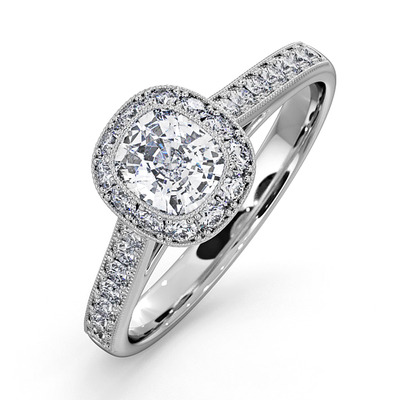 Danielle GIA Diamond Engagement Side Stone Ring in 18KW Gold 1CT G/SI2
