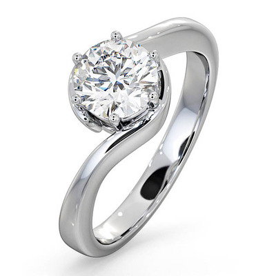 Certified 1.00CT Leah Platinum Engagement Ring E/VS1