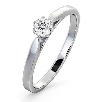 Engagement Ring Certified Low Set Chloe 18K White Gold Diamond 0.25CT