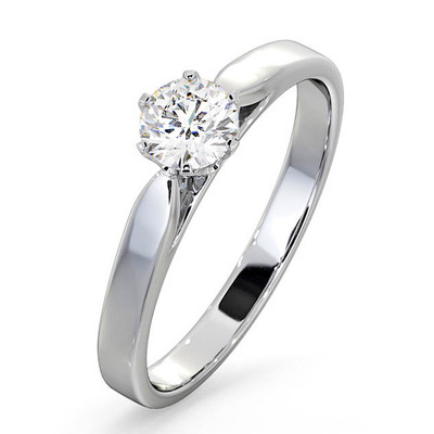 Engagement Ring Certified Low Set Chloe 18K White Gold Diamond 0.50CT