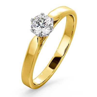 Certified 0.50CT Chloe Low 18K Gold Engagement Ring G/SI2