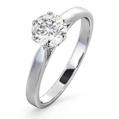 Certified Low Set Chloe 18K White Gold Diamond Engagement Ring 1.00CT