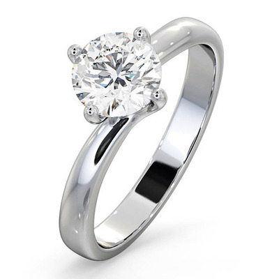 Certified 1.00CT Lily Platinum Engagement Ring E/VS2