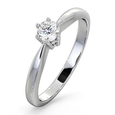 Certified High Set Chloe 18K White Gold Diamond Engagement Ring 0.25CT