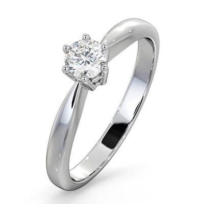 Certified High Set Chloe 18K White Gold Diamond Engagement Ring 0.33CT