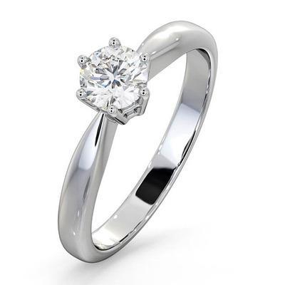 Certified High Set Chloe 18K White Gold Diamond Engagement Ring 0.50CT