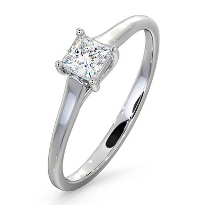 Certified Lucy 18K White Gold Diamond Engagement Ring 0.33CT-F-G/VS
