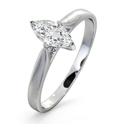 Engagement Ring Certified Marquise Diamond 0.50CT G/VS 18K White Gold