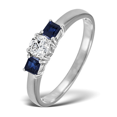 Diamond 0.33ct And Sapphire 18K White Gold Ring