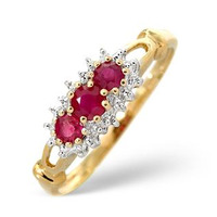 Ruby 0.34ct And Diamond 9K Gold Ring