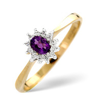 Amethsyt 0.15ct And Diamond 9K Gold Ring