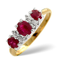 Ruby 0.85ct And Diamond 9K Gold Ring