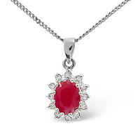 Ruby 1.00CT And Diamond 9K White Gold Pendant
