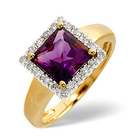 Amethyst 1.66ct And Diamond 9K Gold Ring