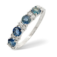 Sapphire 0.70ct And Diamond 9K White Gold Ring