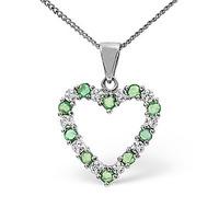 Emerald 0.54CT And Diamond 9K White Gold Pendant