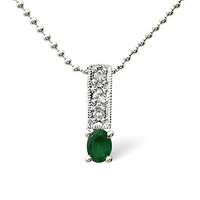 Emerald 0.17CT And Diamond 9K White Gold Necklace