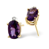 Amethyst 0.80CT And Diamond 9K Yellow Gold Earrings