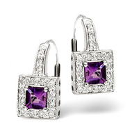 Amethyst 0.60CT And Diamond 9K White Gold Earrings